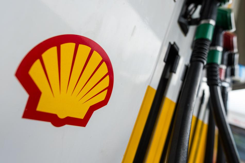 Hamburg: Das Shell-Logo klebt an einer Shell-Tankstelle an einer Zapfsäule.
