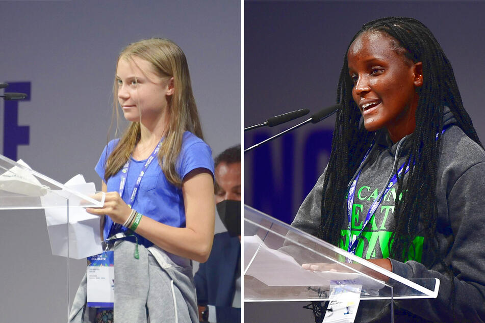 Greta Thunberg (left) and Vanessa Nakate (right) deliver their speeches at the Youth4climate conference in Milan on September 28.