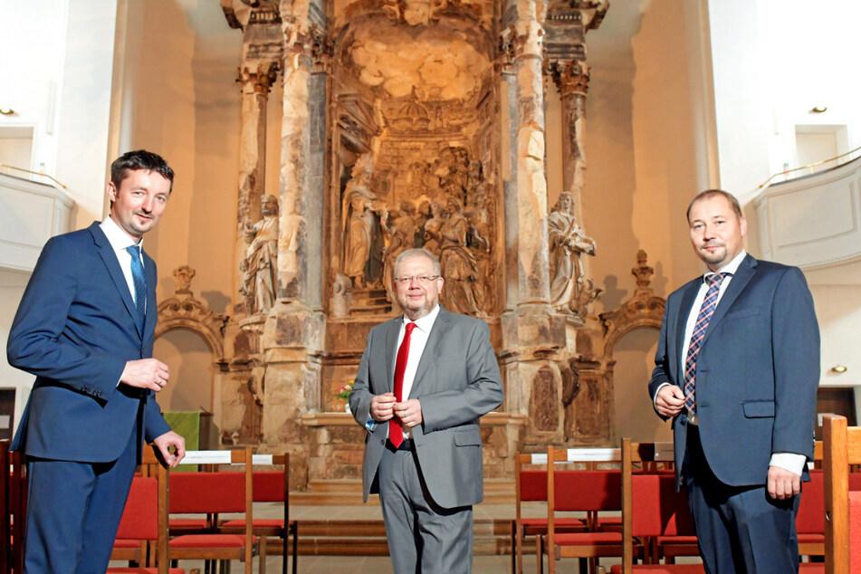 Die Mitbegründer der vereinten Diakonie, v.li.: Sven Marschel, Roberto Schimana und Thomas Slesazeck, Vorstand Stiftung Diakonie Leben.