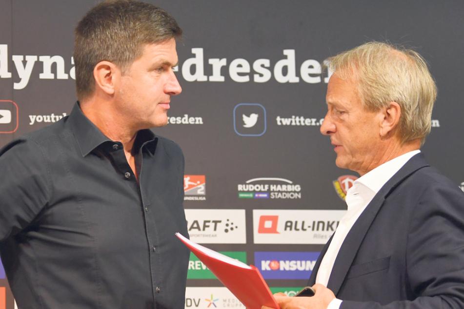 Dynamo Dresdens Sportgeschäftsführer Ralf Becker (l.) und Aufsichtsratschef Jens Heinig entschieden endgültig, nicht gerichtlich gegen den abgelehnten Antrag auf Aufstockung der 2. Bundesliga vorzugehen.