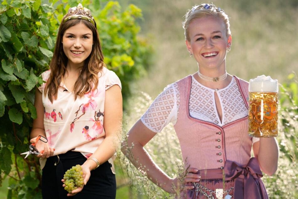 Die Fränkische Weinkönigin Carolin Meyer (24, r.) und die Bayerische Bierkönigin Veronika Ettstaller (22) bleiben länger im Amt. (Bildmontage)