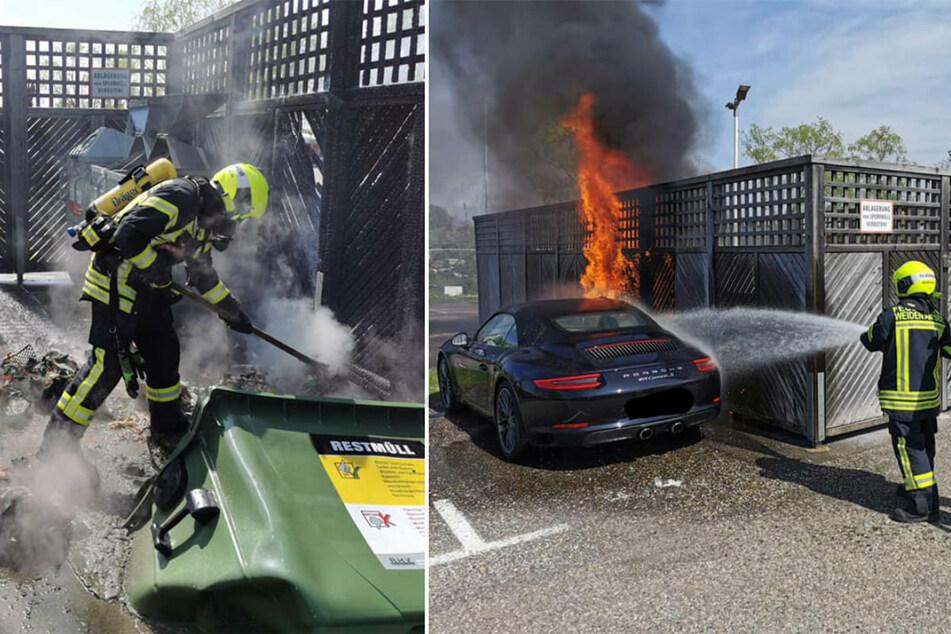 Blöd geparkt: Mülltonne brennt - Porsche gleich mit