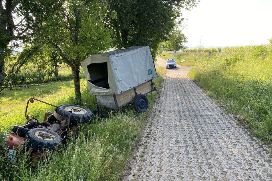 Am Ende des kriminellen Ausflugs landete der Traktor schließlich beschädigt im Graben.
