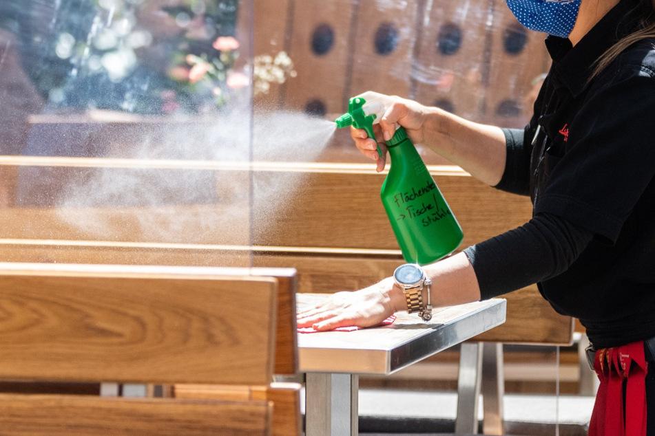 Eine Mitarbeiterin eines Restaurants in Dresden reinigt die Tische, die mit Plexiglasscheiben voneinander getrennt sind, mit Desinfektionsmittel.