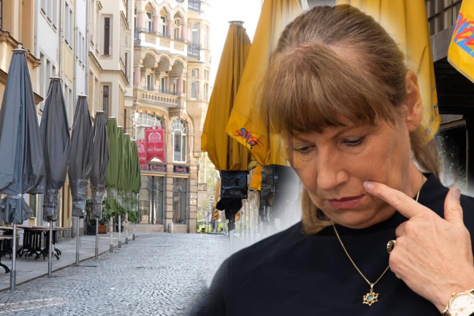 Sozialministerin Petra Köpping (61, SPD) vor der in Corona-Zeiten leeren Leipziger Kneipenmeile.