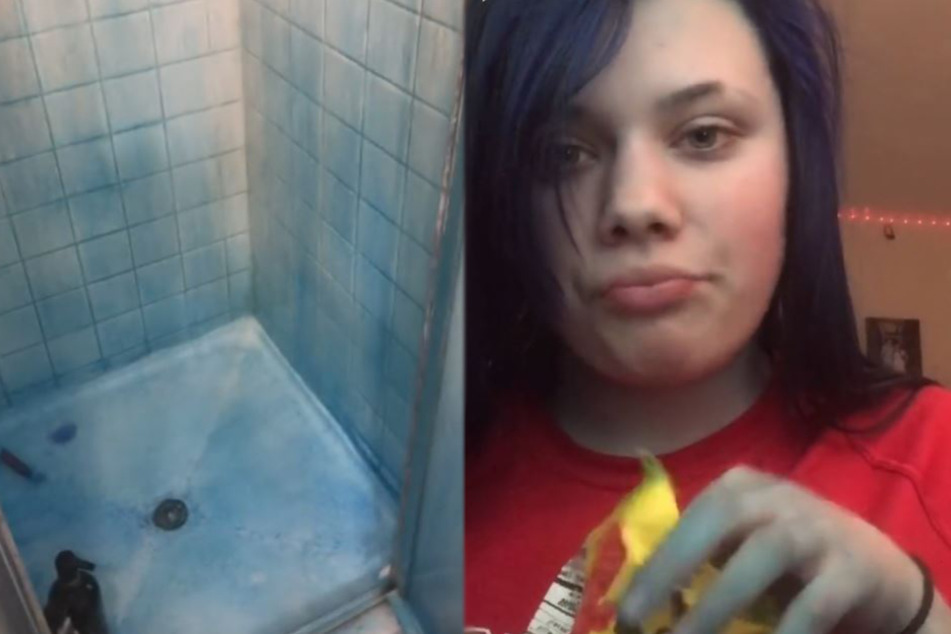 She also accidentally turned the shower blue.