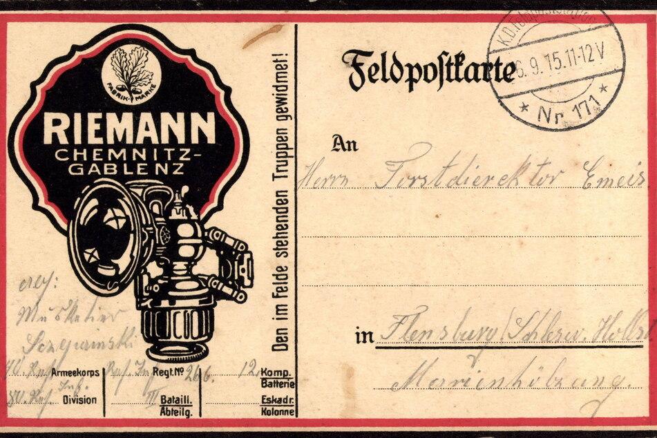 Auf dieser Postkarte ist das Logo der Fahrzeuglampenfabrik Riemann zu sehen. Die Unternehmerfamilie ist auf dem Städtischen Friedhof begraben.