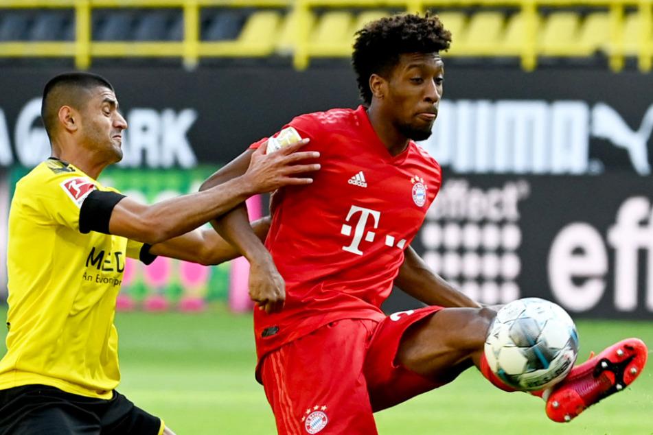 FCB-Flügelflitzer Kingsley Coman behauptet den Ball gegen Dortmunds Mahmoud Dahoud (l.).