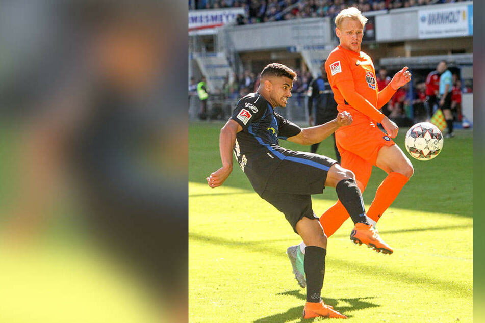 In Paderborn hatte Sören Bertram (r.) immer auf den Ball gerichtet. Hier klärt Mohammed Dräger vor dem FCE-Stürmer.
