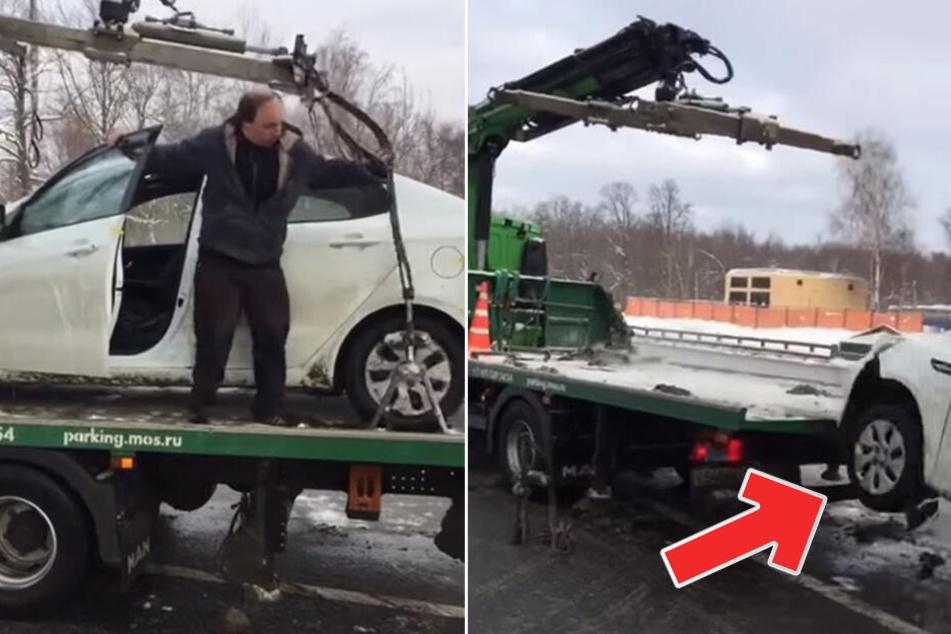 Parksünder ausgerastet: Mann fährt Kia vom Abschleppwagen und haut ab