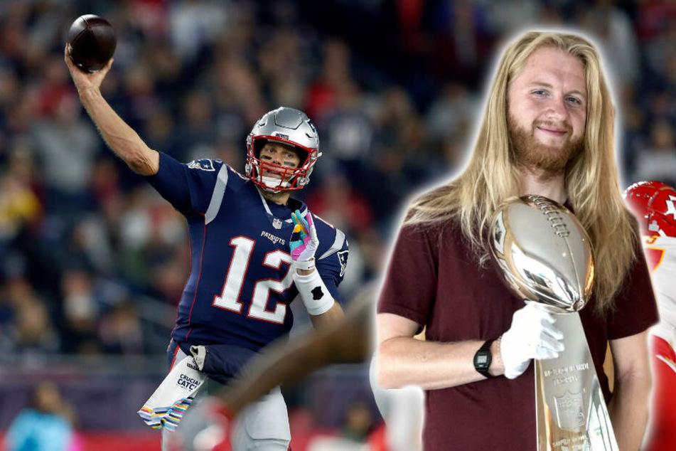 """Eine Sportart, zwei Stars: Tom Brady (l.) steht als Aktiver im Super Bowl, während """"Icke"""" (r.) in der Kommentatoren-Box die Zuschauer begeistert."""