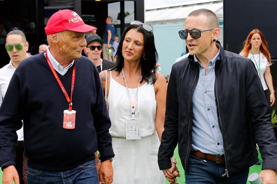 Vor einem Jahr besuchten Chester und Ehefrau Talinda Bennington noch gemeinsam das Formel-1-Rennen am Hockenheimring.
