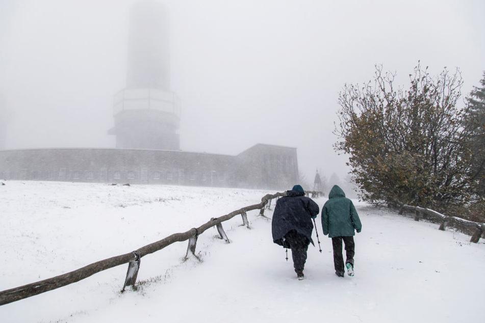 Auf dem Großen Feldberg lagen zehn Zentimeter Schnee.