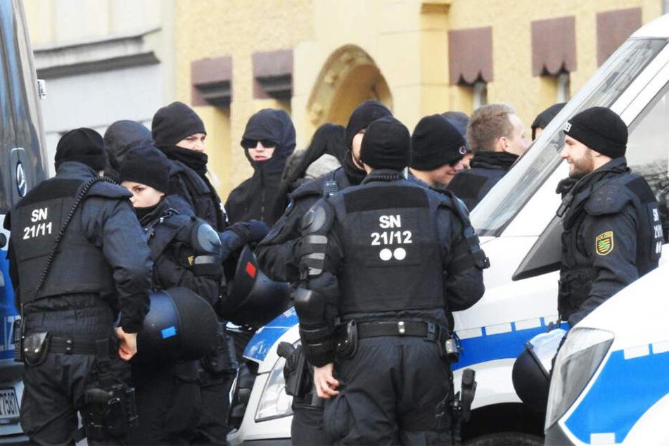 Eine Kundgebung der Antifa im Januar sicherte ein Polizei-Großaufgebot ab.