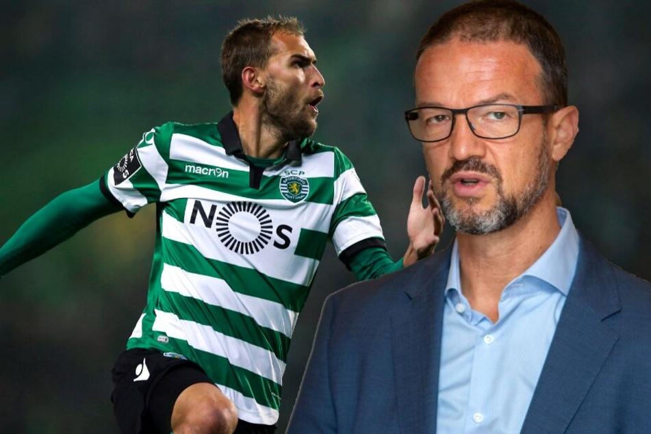 Fotomontage: Trotz zäher Verhandlungen geht Eintracht-Sportvorstand Fredi Bobic (Re.) weiterhin fest von einem Wechsel von Stürmer Bas Dost nach Frankfurt aus.