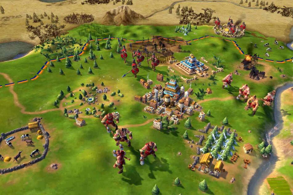 Am Anfang startet Ihr mit Eurer ersten Stadt und müsst hauptsächlich erst einmal gegen fiese Barbaren bestehen.