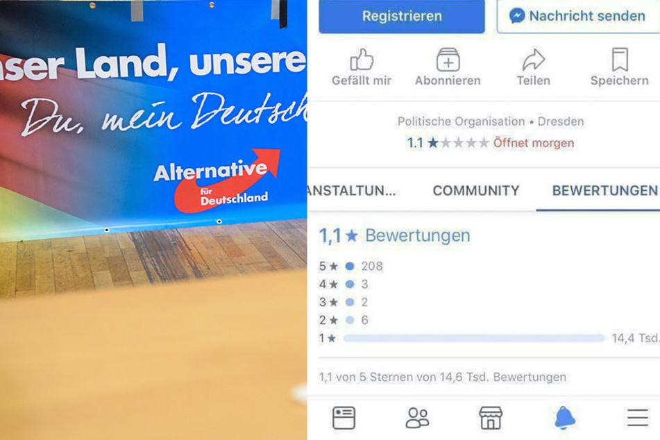 Die AfD Sachsen hat ehrliche Bewertungen bei Facebook gesammelt und dann gelöscht.