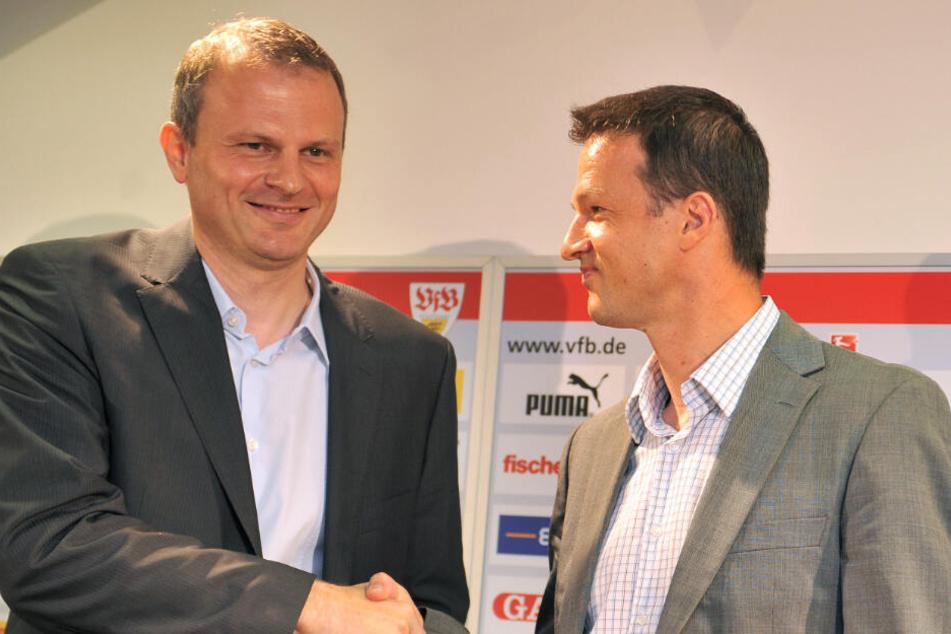 Arbeiteten beim VfB Stuttgart zusammen: Der heutige Schalke-04-Sporvortstand Jochen Scheider und aktueller Eintracht-Frankfurt-Sportvorstand Fredi Bobic.