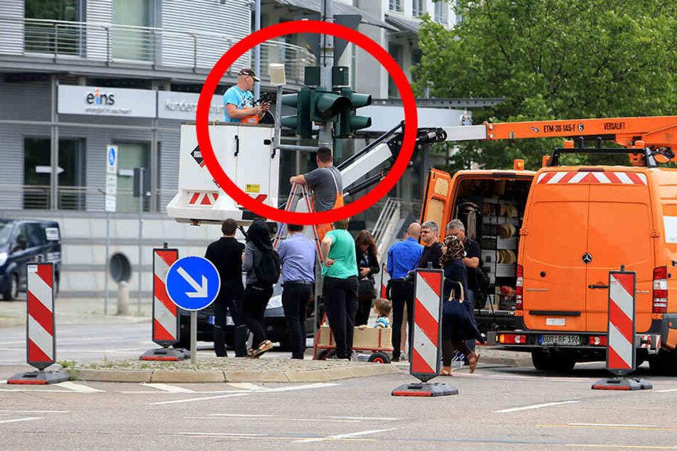 Hier wird die erste Überwachungs-Ampel Sachsens installiert