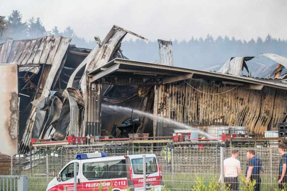 Die Halle wurde bei dem Brand komplett zerstört.