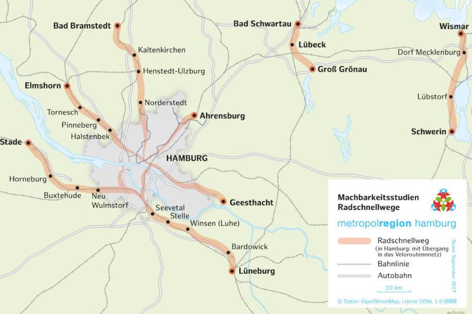 Diese möglichen Radschnellwege im Norden sollen nun untersucht werden.