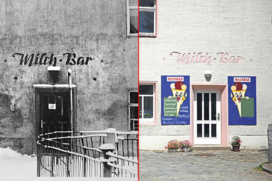 Links: Vor 60 Jahren so die Milchbar noch so aus. Rechts: Und so sieht die Milchbar an der Bahnhofstraße in Bischofswerda heute  aus.