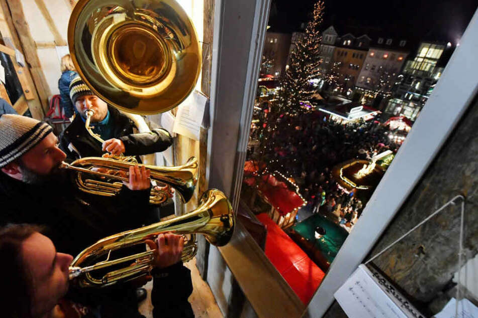 In Jena wurden die Besucher mit dem traditionellen Turmblasen empfangen.