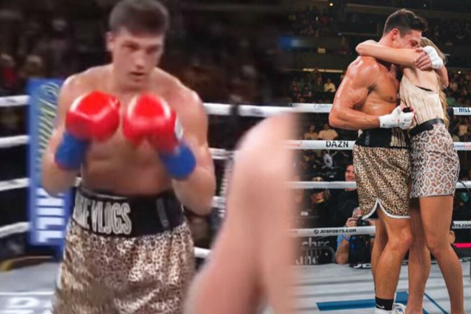 Wie süß! Nach Sieg im ersten Profi-Boxkampf holt er seine Freundin in den Ring!