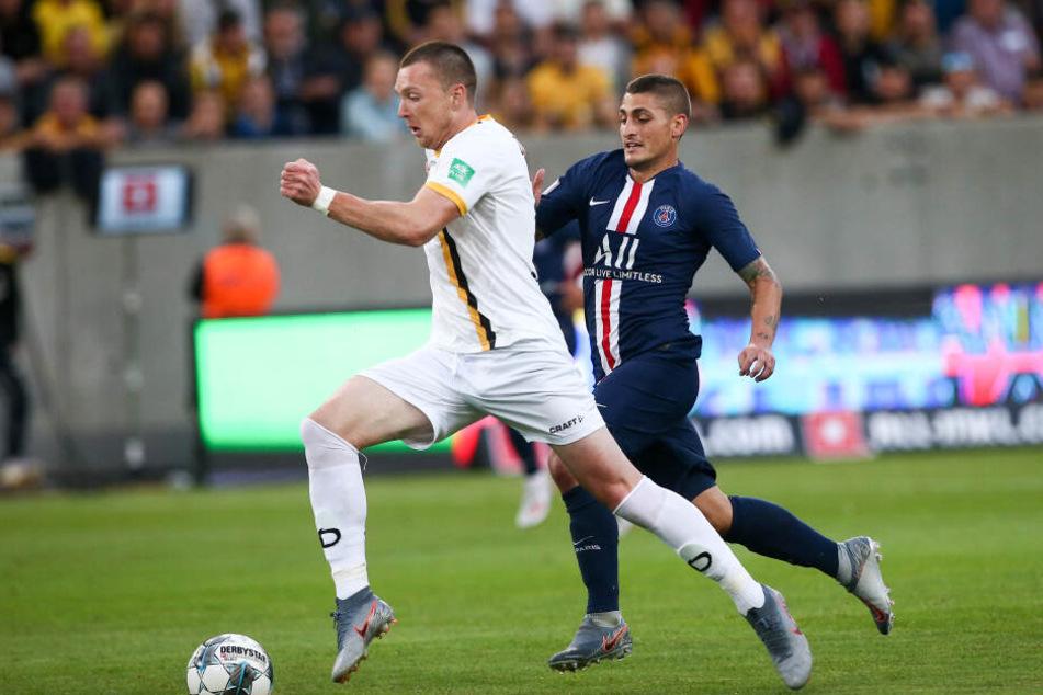 Da wusste Duljevic wohl schon, dass er in ein paar Wochen wieder auf Paris treffen würde: hier im Testspiel mit Dynamo gegen Paris Saint-Germain.