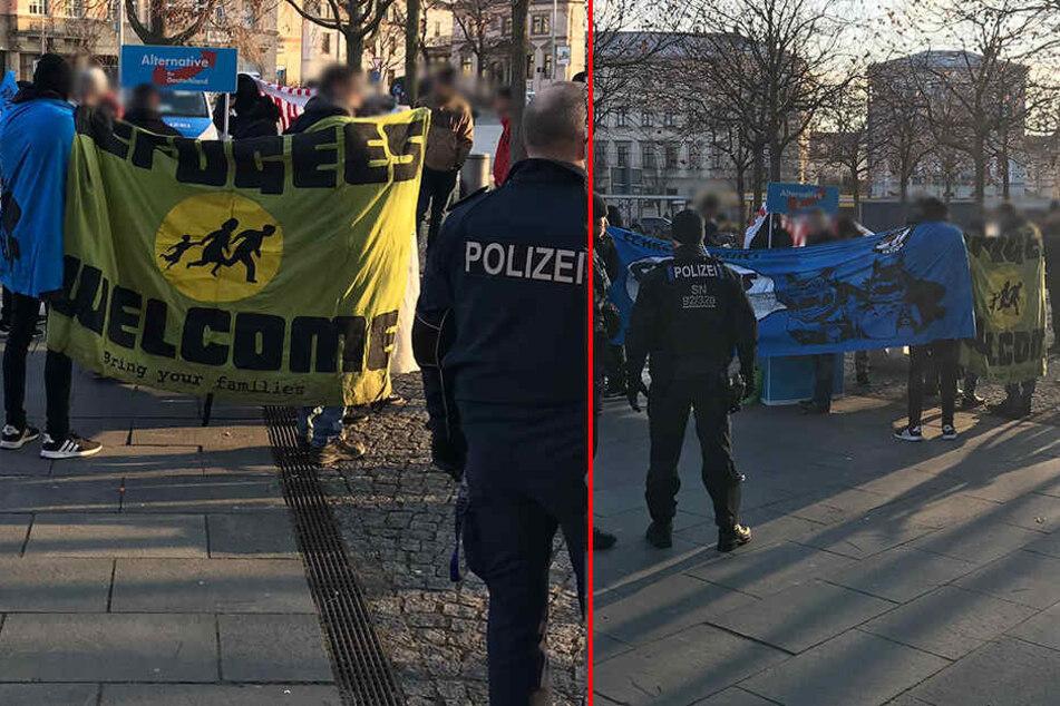 Die Demonstranten kesselten den Stand ein.