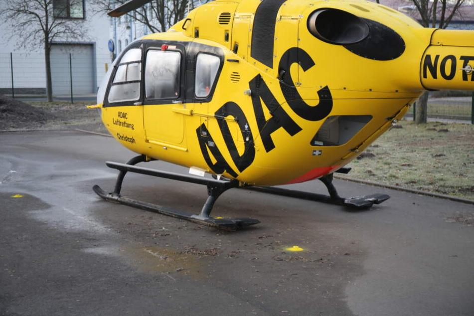 Dort, wo nun nur noch gelbe Punkte sind, war die Stange verlaufen. Direkt über einer der Kufen des Hubschraubers.