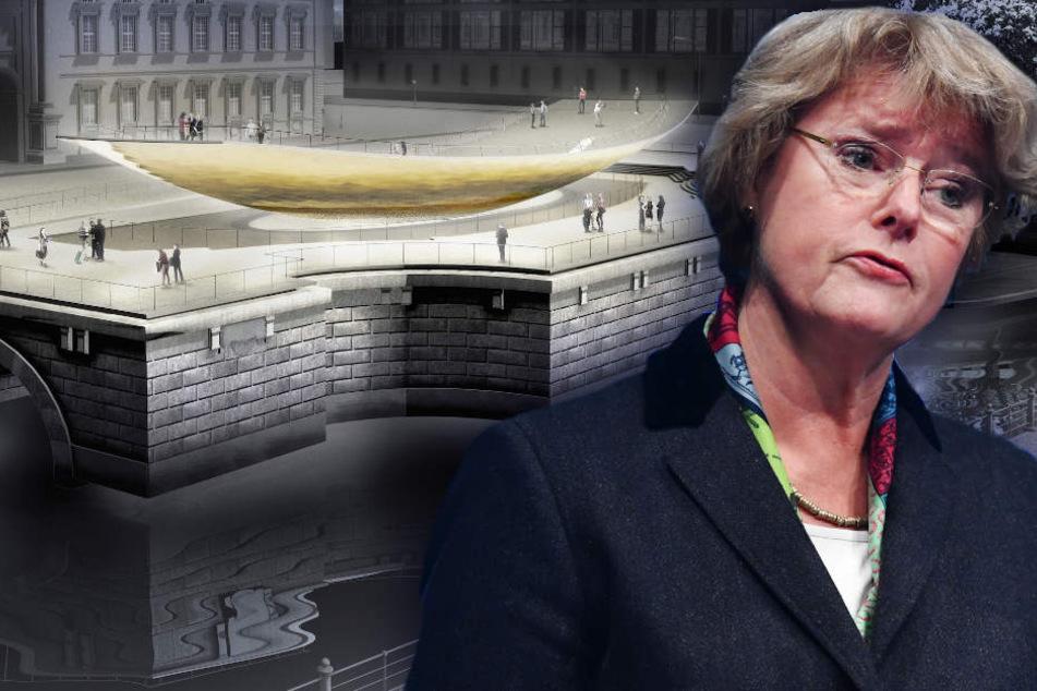 Die Computergrafik zeigt das geplante Freiheits- und Einheitsdenkmal, vor dem Berliner Schloss. Für Grütters der ideale Ort. (Bildmontage)