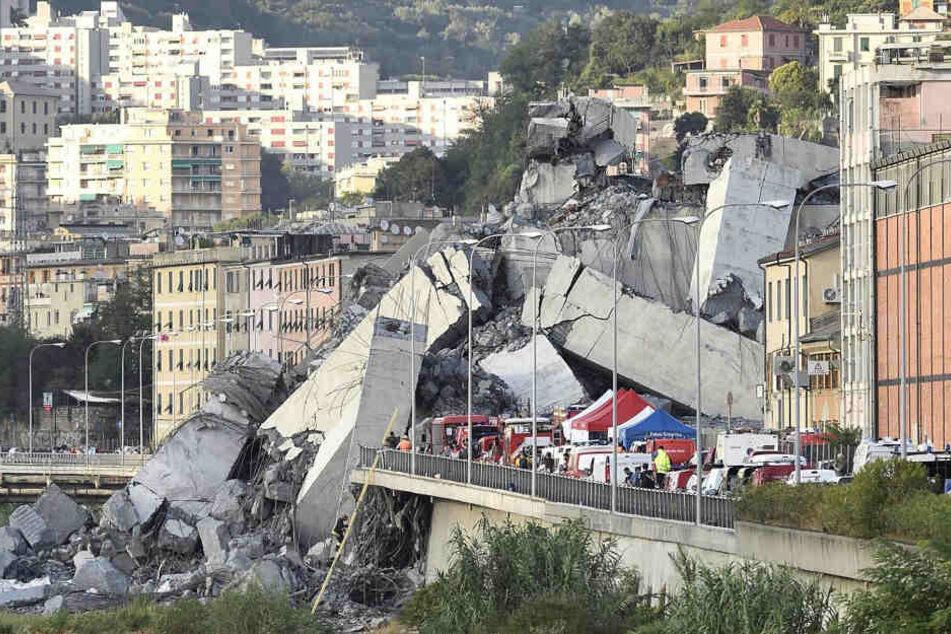 Fahrzeuge der Rettungskräfte sind vor der teilweise eingestürzten Autobahnbrücke Ponte Morandi zu sehen.