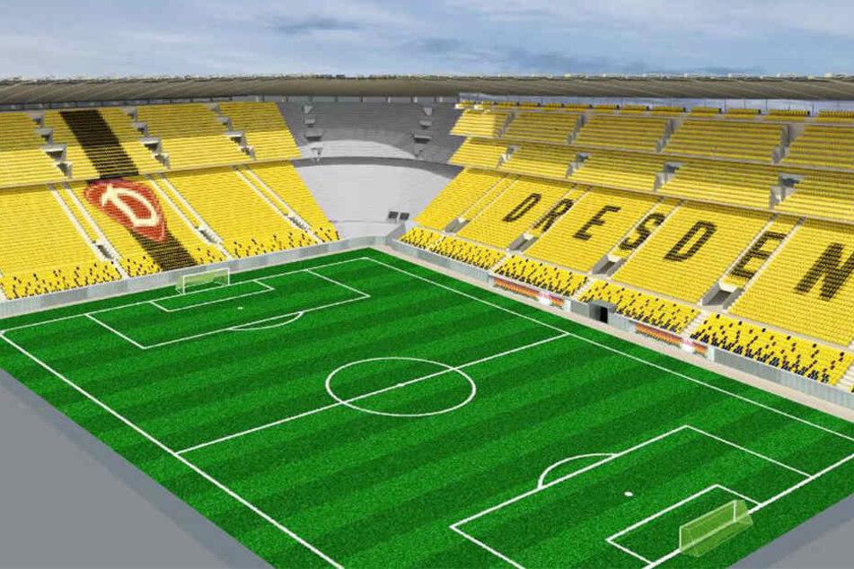 So könnte das erweiterte DDV-Stadion laut einer ersten Visualisierung aussehen. Es wäre europaweit das steilste Stadion.
