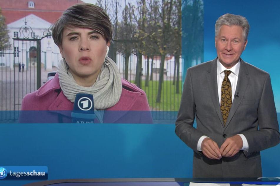 Tagesschau-Sprecher Claus-Erich Boetzkes nahm die Unterbrechung der Schalte zu Kristin Becker gelassen.