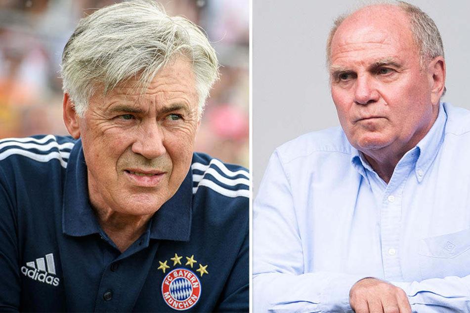 Bange Blicke zur Konkurrenz: Bayern-Trainer Carlo Ancelotti (l.) und Präsident Uli Hoeneß (r.) rechnen auch 2017/18 mit starken Roten Bullen.