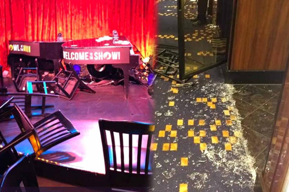 Stühle wurden umhergewirbelt. Scherben der Türen zum Restaurant zerbarsten.