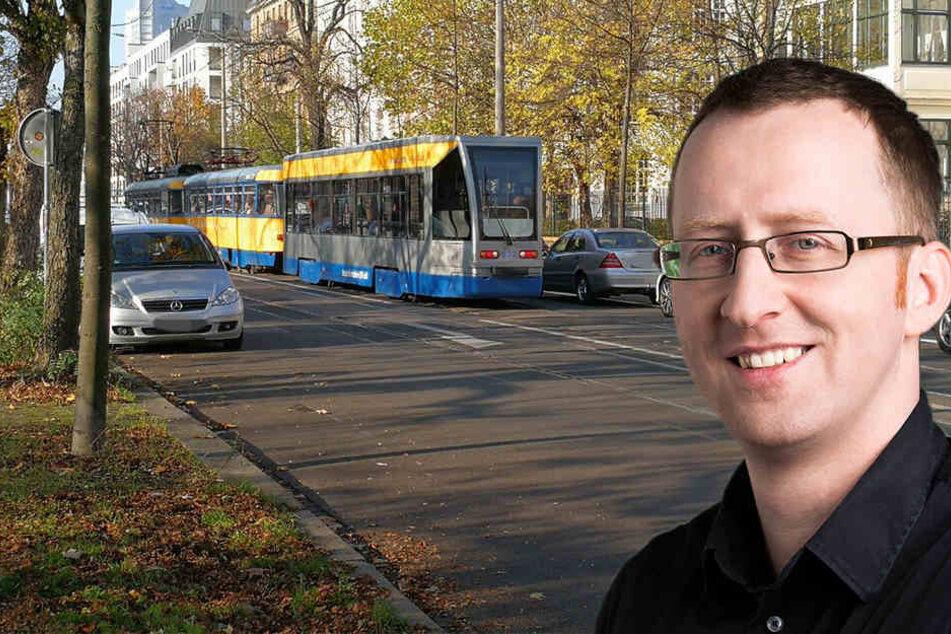 Grünen-Fraktionschef Norman Volger verteidigt den neuen Radfahrstreifen in der Dresdner Straße.