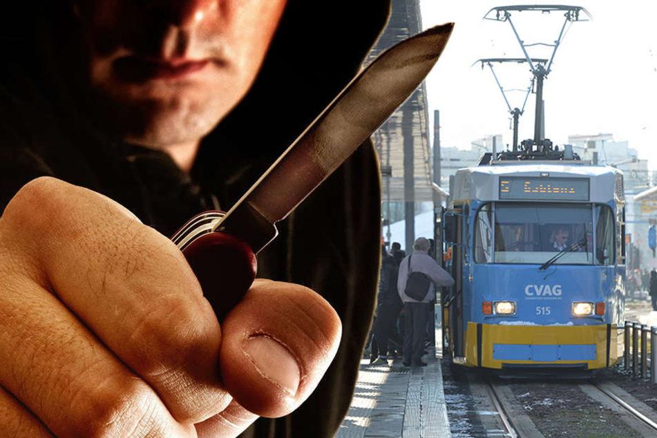 Ein unbekannter Mann bedrohte eine Frau in der Tram-Linie 5 mit einem Messer. (Bildmontage)
