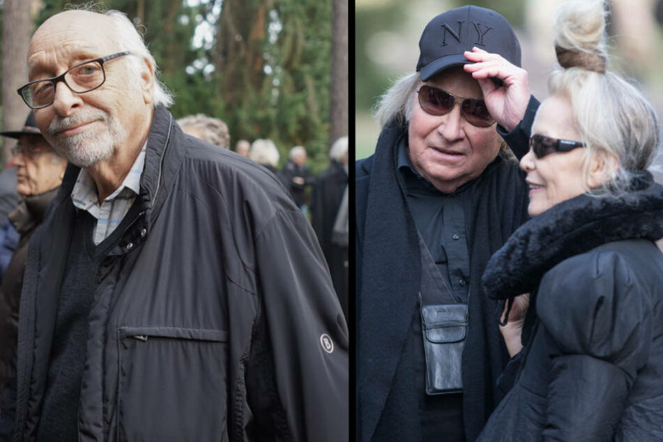 Auch Karl Dall (77, li.) sowie Jürgen Barz (74) und Lilli Berlin kamen zum Waldfriedhof Dahlem. (Bildmontage)