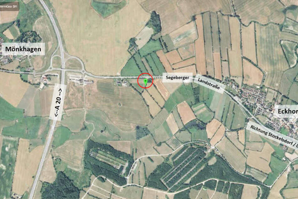Die Karte zeigt den Fundort der gefesselten Frau zwischen Mönkhagen und Eckhorst.