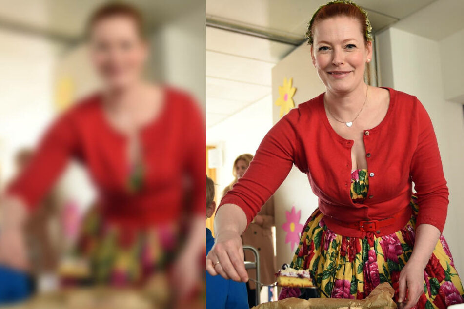 Die TV-Moderatorin Enie van de Meiklokjes serviert selbstgebackenen Kuchen.