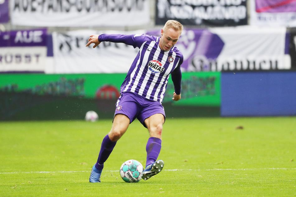 Verlängert! Aue-Stürmer Florian Krüger (21) bleibt zwei weitere Jahre bei den Veilchen.