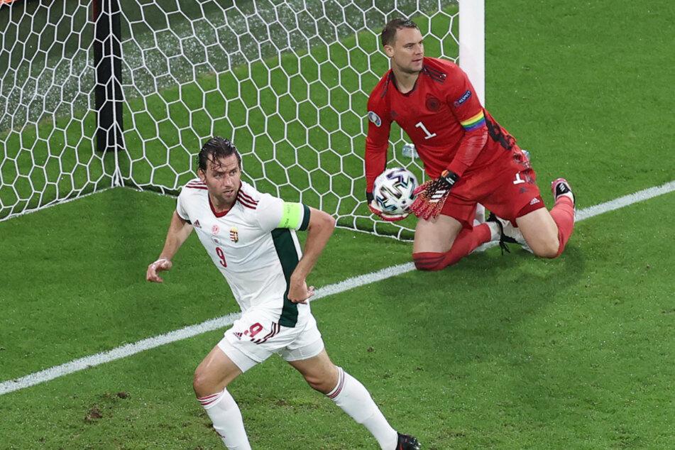 Adam Szalai (l.) überwand Manuel Neuer früh und traf zum 1:0 für Ungarn gegen Deutschland.
