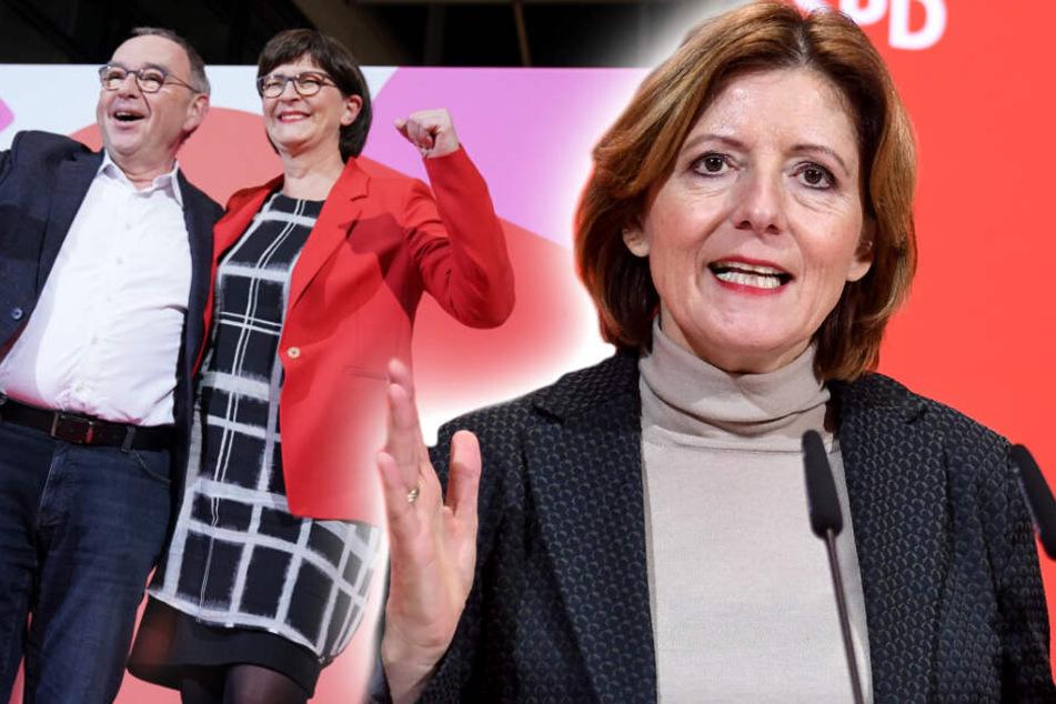 Neues Führungsduo: Saskia Esken (m.) und Norbert Walter-Borjans (l.) werden das Team rund um die kommissarische SPD-Chefin Malu Dreyer an der Parteispitze ersetzen. (Bildmontage)