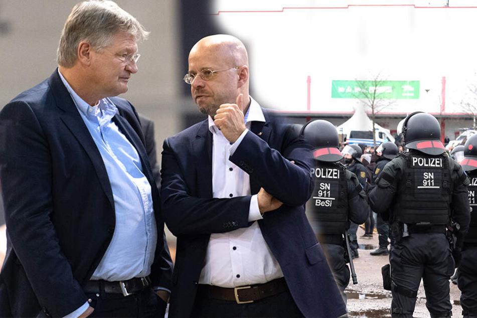 Im Inneren der Sachsen-Arena berieten die AfD-Poltiker Jörg Meuthen (links), Andreas Kalbitz & Co. über die Zukunft der Partei in Europa und der Europäischen Union.