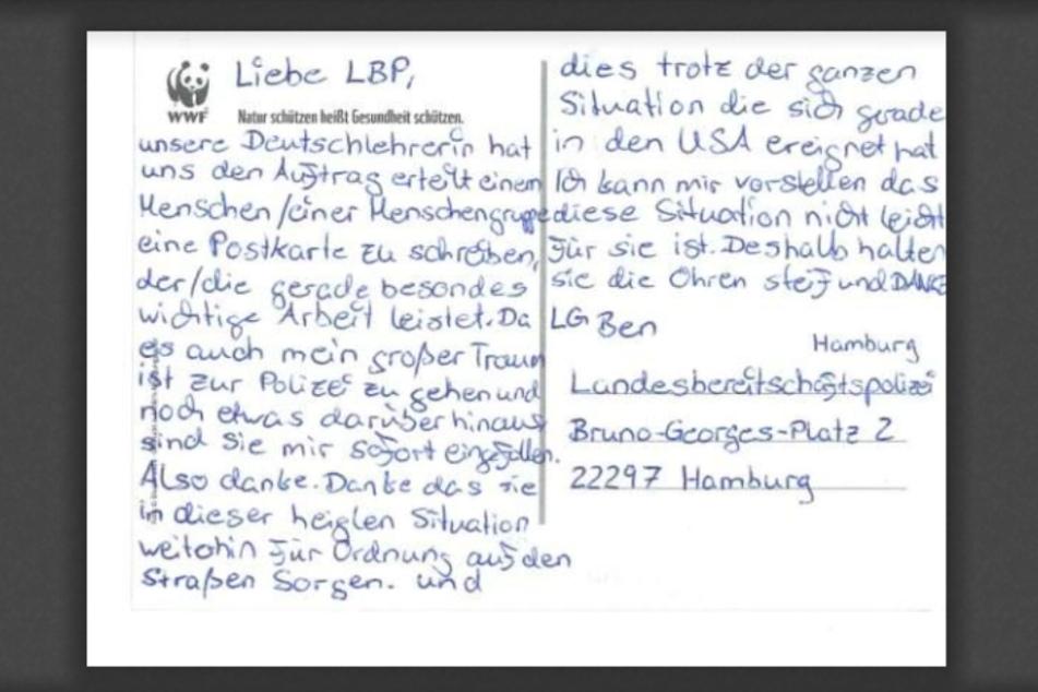 Die Postkarte von Ben veröffentlichte die Polizei Hamburg.
