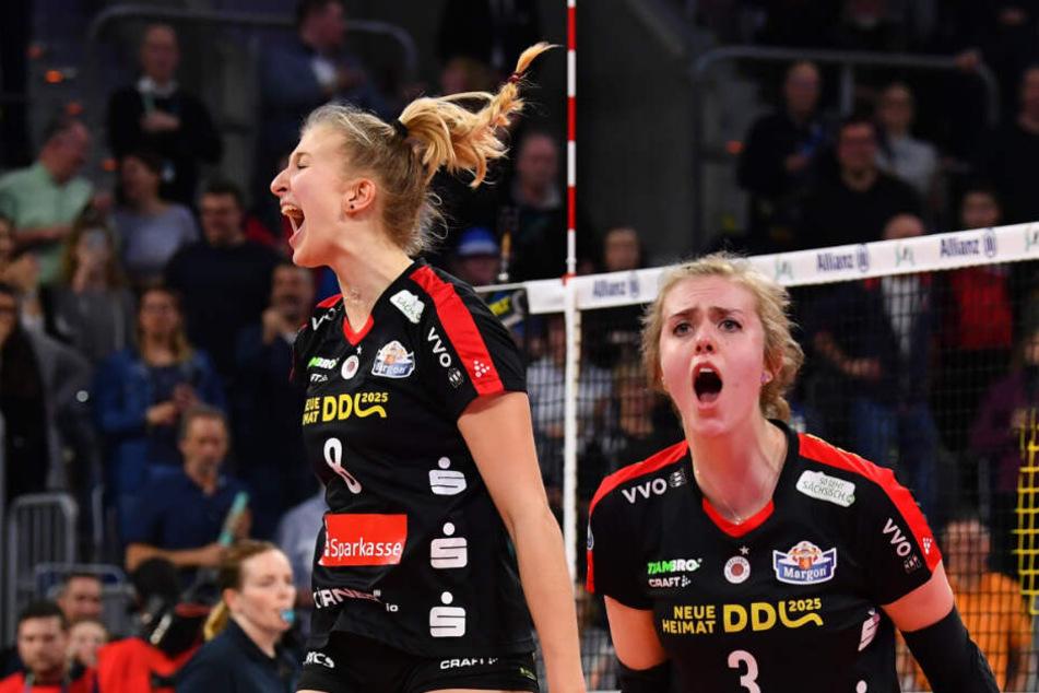 Die jungen Wilden Monique Strubbe (l.) und Emma Cyris sorgten beim Pokalfinale für Furore