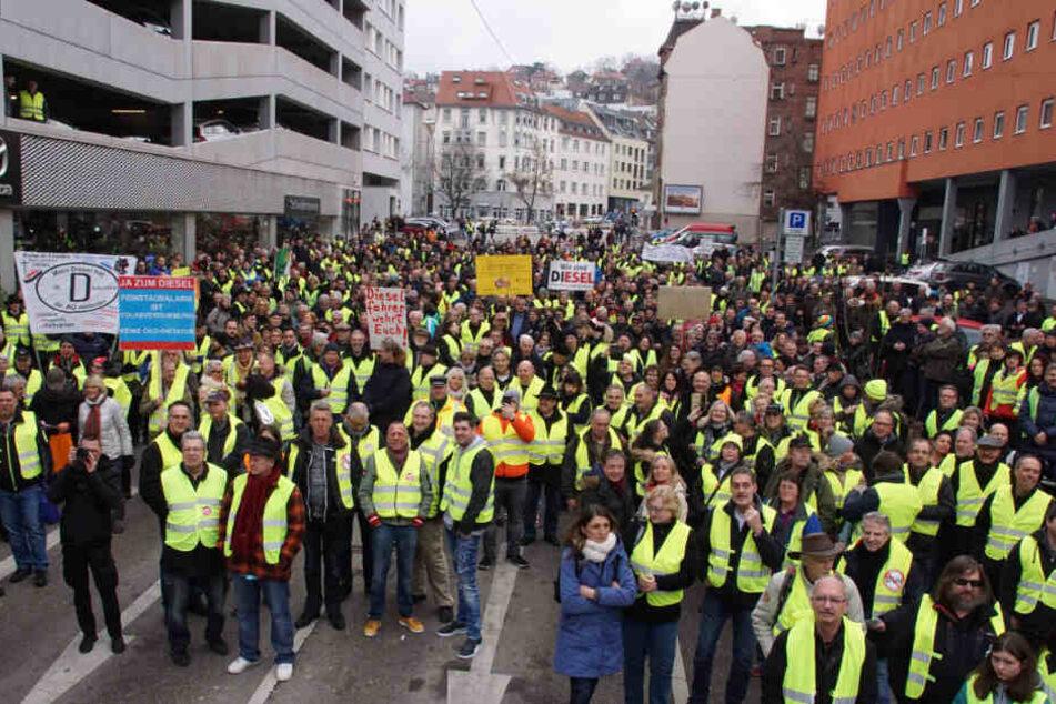 Diesel-Demo am Samstag, dem 2. Februar am Neckartor in Stuttgart.