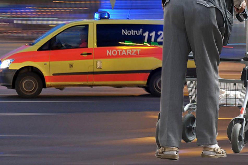 Lebensgefahr! Fußgänger (56) mit Rollator von Auto erfasst